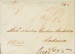 PREFILATELIA. Canarias. SOBRE 1837. SANTA CRUZ DE TENERIFE A MADEIRA (ISLAS DE PORTUGAL). Transportada Privadamente Hast - Spanje