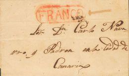 PREFILATELIA. Canarias. SOBRE (1845ca). Dirigida a LAS PALMAS. Marca FRANCO, de La Laguna (P.E.4) edición 2004 y