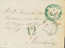 PREFILATELIA. Asturias. SOBRE 1845. OVIEDO a MADRID. Baeza OVIEDO / ASTURIAS, en azul. MAGNIFICA.