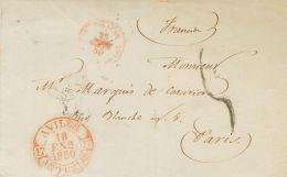 PREFILATELIA. Asturias. SOBRE 1850. AVILES a PARIS (FRANCIA). Baeza AVILES / ASTURIAS, en rojo. MAGNIFICA.