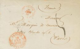 PREFILATELIA. Asturias. SOBRE 1850. AVILES A PARIS (FRANCIA). Baeza AVILES / ASTURIAS, En Rojo. MAGNIFICA. - Spanje