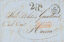 PREFILATELIA. Aragón. SOBRE 1854. OLORON (FRANCIA) a HUESCA. Marca FRANCIA, en rojo aplicada en Jaca en tr&aacute