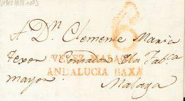 PREFILATELIA. Andalucía. SOBRE 1818. VELEZ (MALAGA) a MALAGA. Marca VELEZ MALAGA / ANDALUCIA BAXA (P.E.3) edici&o