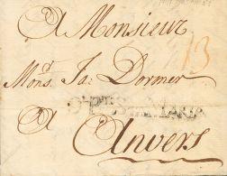 PREFILATELIA. Andalucía. SOBRE 1747. EL PUERTO DE SANTA MARIA a AMBERES (BELGICA). Marca DL. PTO. STA. MARIA (P.E