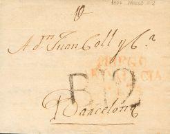 PREFILATELIA. Andalucía. SOBRE 1806. PRIEGO DE CORDOBA a BARCELONA. Marca PRIEGO / ANDALUCIA / ALTA (P.E.2) edici