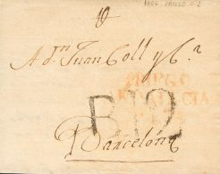 PREFILATELIA. Andalucía. SOBRE 1806. PRIEGO DE CORDOBA A BARCELONA. Marca PRIEGO / ANDALUCIA / ALTA (P.E.2) Edici - Spanje