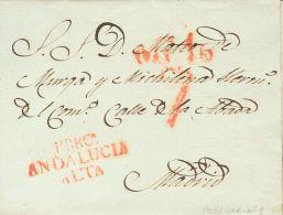 PREFILATELIA. Andalucía. SOBRE 1834. PORCUNA a MADRID. Marca PORCª / ANDALUCIA / ALTA (P.E.1) edición