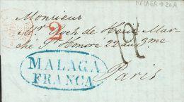 PREFILATELIA. Andalucía. SOBRE 1840. MALAGA a PARIS (FRANCIA). Marca MALAGA / FRANCA, en azul (P.E.21) edici&oacu