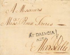 PREFILATELIA. Andalucía. SOBRE 1765. MALAGA a MARSELLA (FRANCIA). Marca ANDALVCIA / ALTA (P.E.4) edición 2