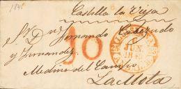PREFILATELIA. Andalucía. SOBRE 1845. LORA DEL RIO a LA MOTA. Baeza LUISIANA / ANDAL. B. MAGNIFICA.