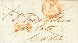PREFILATELIA. Andalucía. SOBRE 1844. JEREZ DE LA FRONTERA a CADIZ. Baeza JEREZ D.L.Fª / CADIZ y marca FRANCO