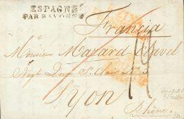 PREFILATELIA. Andalucía. SOBRE 1821. GIBRALTAR a LYON (FRANCIA) (corte de desinfección). Marca EZIXA / FRA