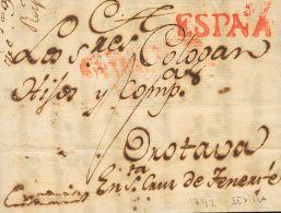 PREFILATELIA. Andalucía. SOBRE 1792. SEVILLA a LA OROTAVA (CANARIAS). Marca ESPAÑA, aplicada en trá