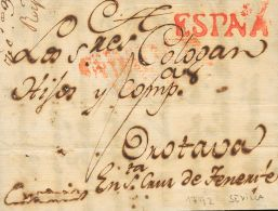 PREFILATELIA. Andalucía. SOBRE 1792. SEVILLA A LA OROTAVA (CANARIAS). Marca ESPAÑA, Aplicada En Trá - Zonder Classificatie