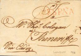 PREFILATELIA. Andalucía. SOBRE 1770. LONDRES (INGLATERRA) a SANTA CRUZ DE TENERIFE (CANARIAS). Marca ESPAÑ
