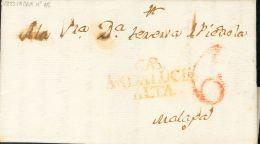 PREFILATELIA. Andalucía. SOBRE 1823. CABRA a MALAGA. Marca CAB / ANDALUCIA / ALTA, en rojo (P.E.1) edición