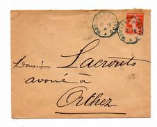 Orthez. Enveloppe Avec Cachet Convoyeur Bleu Mauleon A Puyoo. 1910 - Orthez