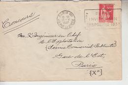 RT29.356  FLAMME  PARIS  INVITAS VIN EKSPOZICIO 1937 SUR TIMBRE TYPE PAIX 50 C - Marcophilie (Lettres)