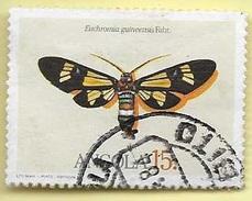 TIMBRES - STAMPS - ANGOLA - 1984 - PAPILLONS  Euchromia Guiniessis Fabr. - TIMBRE OBLITÉRÉ (DÉCALAGE DE COULEUR BRUNE)