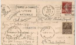 2 MECANIQUES LYON GARE Et LYON R.P. Rhone Dont Concordance Exposition COLONIALE 1931. - Oblitérations Mécaniques (flammes)