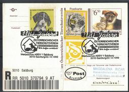 JP280   Austria, Österreich - Ganzsache R,Hund Und Katze SoSt 100 Jahre Österreichischer Tierschutzverein - Interi Postali