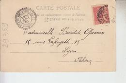 RT29.359  CACHET  PERLE SAINT-ETIENNE DES OULLIERES  1901 SUR CARTE DE TOULON  LE THEATRE - Marcophilie (Lettres)