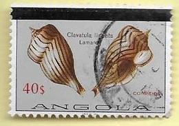 TIMBRES - STAMPS - ANGOLA - 1981 - COQUILLAGES- TIMBRE OBLITÉRÉ AVEC BARRE LARGE NOIR (CLÔTURE DE SERIE)