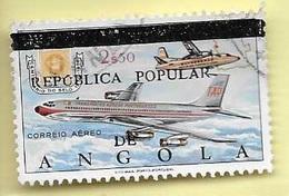 TIMBRES - STAMPS - ANGOLA - 1980 - 110 E. ANNIVERSAIRE DE TIMBRE POSTAL - AVION - SURCHARGE NOIR