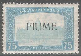 1918 - FIUME Parlament 75 Fil MH - 8. Occupazione 1a Guerra