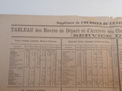 TABLEAU De Départ Et Arrivée Des Chemins De Fer D' Orléans Et De L'Etat 21 Juin 1881 - Europe