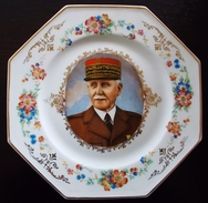 Assiette En Porcelaine De Limoges Maréchal Pétain - 1914-18