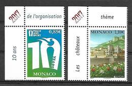 Monaco 2017 - Yv N° 3089 & 3090 ** - 10 Ans Peace And Sport Et Chateau (Mi N° 3347 & 3346) - Monaco