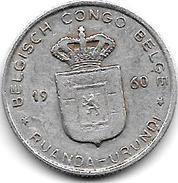 Belgian Congo Ruanda-urundi  1 Franc 1960  Km 4  Vf+ - Congo (Belge) & Ruanda-Urundi