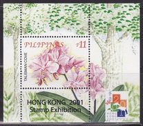 """Philippines 2001 International Stamp Exhibition """"Hong Kong 2001"""",Flowers,Orchids,  BLOCK 163  MNH** - Orchidées"""