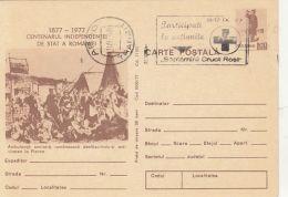 60514- PLEVNA BATTLE WOUNDED, WARFIELD HOSPITAL, RED CROSS WEEK, POSTCARD STATIONERY, 1977, ROMANIA - Red Cross