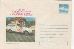 60550- BUCHAREST AMBULANCE SERVICE, FIST AID, CAR, HEALTH, COVER STATIONERY, 1981, ROMANIA