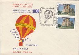 60571- BALLOON, WORLD HEALTH DAY, SPECIAL COVER, 1983, ROMANIA