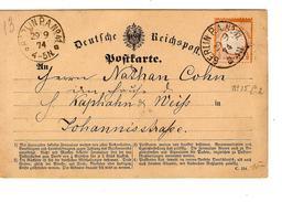 Deutsches Reich PK-CP C.Berlin P.A.N°41 29/9/1874 Nach In Stad 424