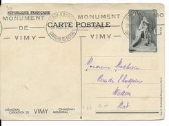 1936 - CARTE ENTIER POSTAL ILLUSTREE De VIMY Avec OBLITERATION MECA SPECIALE - Entiers Postaux