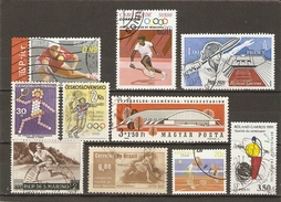Tennis - Petit Lot De 10 Timbres° - Roland-Garros - Wimbledon - Kim Clijsters - JO Moscou - Barcelone - Lots & Kiloware (mixtures) - Max. 999 Stamps