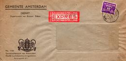 1941 Dienst-vensterenvelop Per Expres Van Amsterdam Naar 'sGravenhage