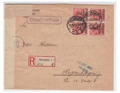 ALLEMAGNE -- PERIODE INFLATIONNISTE -- LETTRE RECOMMANDEE DE WIESBADEN POUR COPENHAGUE -- - Lettres & Documents