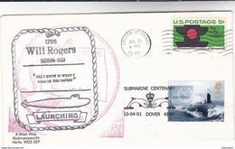 GB / USA Double SUBMARINE EVENT COVER  Pmk 1966 SSBN 659 &  2001 DOVER  Navy Ship Dolphin Animal