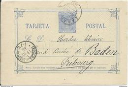 SPAIN_1882. ALFONSO XII. Comunicaciones. #8 LAIZ. ZARAGOZA. TARJETA CIRCULADA A FREIBURG