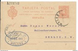 SPAIN_1905. ALFONSO XIII Tipo Cadete. #47 LAIZ. MALAGA. ENTERO POSTAL CIRCULADO A BERLIN