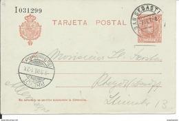 SPAIN_1908. ALFONSO XIII Tipo Cadete. #45A LAIZ. SAN SEBASTIAN. ENTERO POSTAL CIRCULADO A RHEYDT (ALEMANIA)