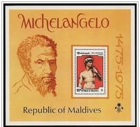 Maldive/Maldives: Foglietto, Block, Bloc, David Di Michelangelo, David De Michel-Ange, Michelangelo's David