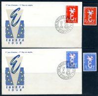 BE  Marcophilie  --  Obl. Mécanique / Machine   --  EXPO 58   Et  Timbres Europa 1958  --   Belgique  --  2 Plis