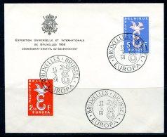 BE  Marcophilie  --  Obl. Mécanique / Machine   --  EXPO 58   Et  Timbres Europa 1958  --   Belgique  --  Rare...