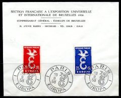 BE  Marcophilie  --  Obl. Mécanique / Machine   --  EXPO 58   Et  Timbres Europa 1958  --   France  --  Rare...